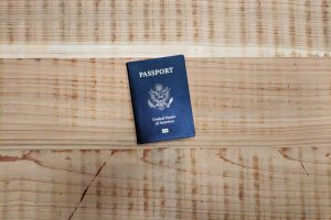 passport on wooden background
