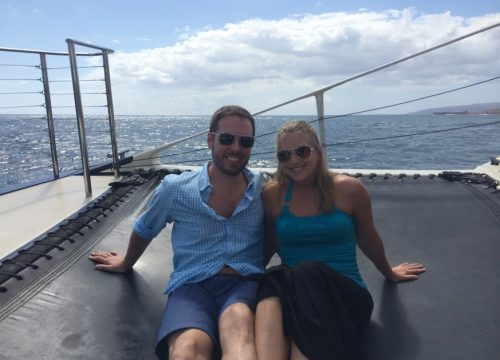 Couple on a catamaran