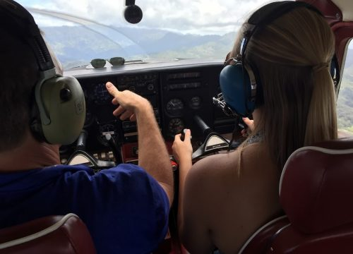 Flying a plane over Hawaii