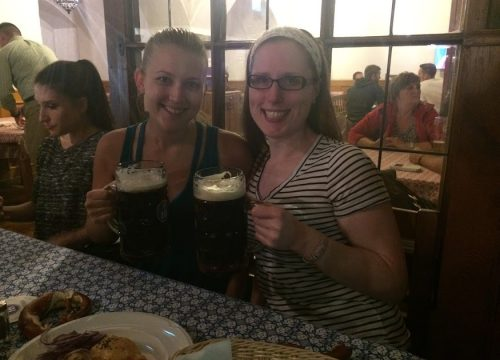 Drinking beer at Hofbrauhaus