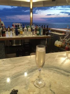 glass of champagne at the bar
