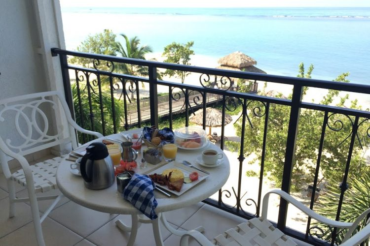 breakfast on the balcony at Sandals