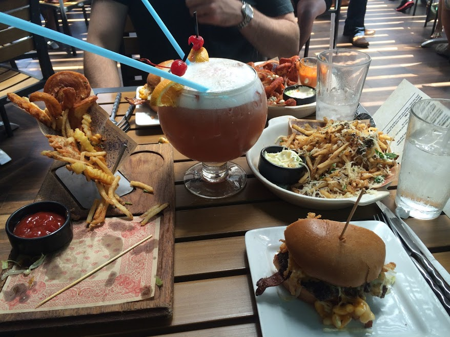 Fries and drinks at Guy Fieri