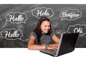Girl learning new language