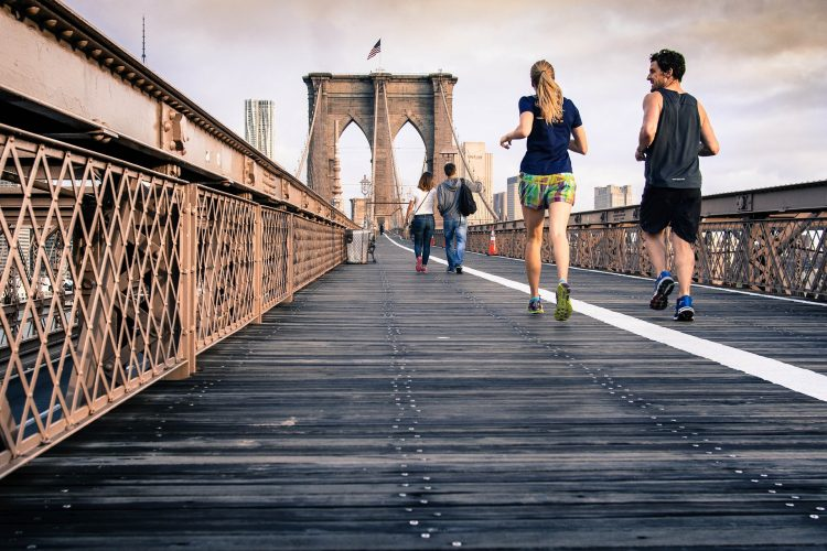 Couple running in NYC