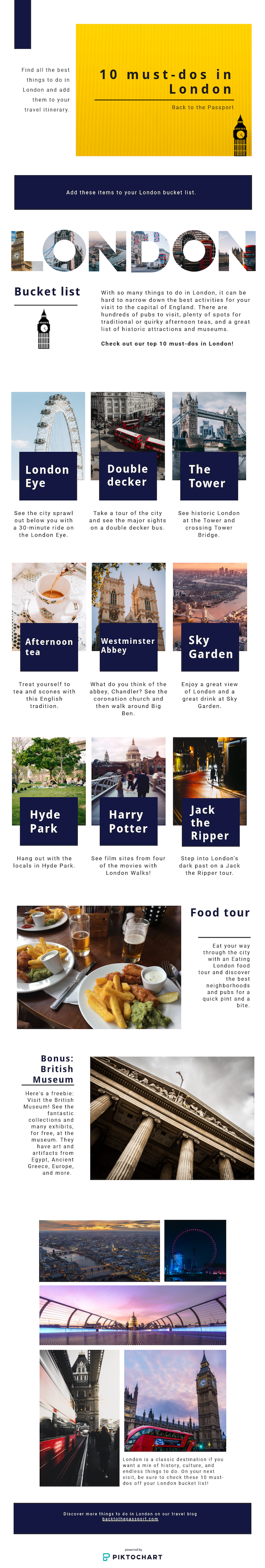 10 must-dos in London infographic