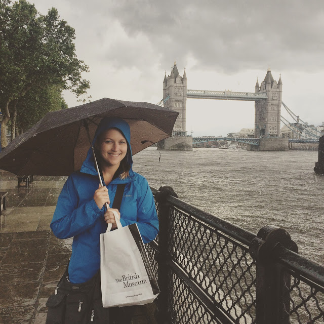 Woman with umbrella in London
