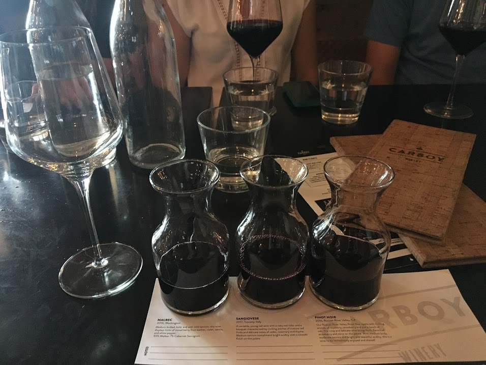 Wine flight at Carboy Winery
