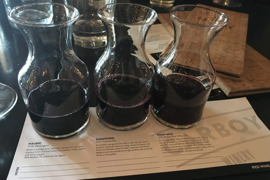 wine flight at Carboy