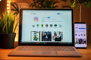 Laptop and phone on Instagram