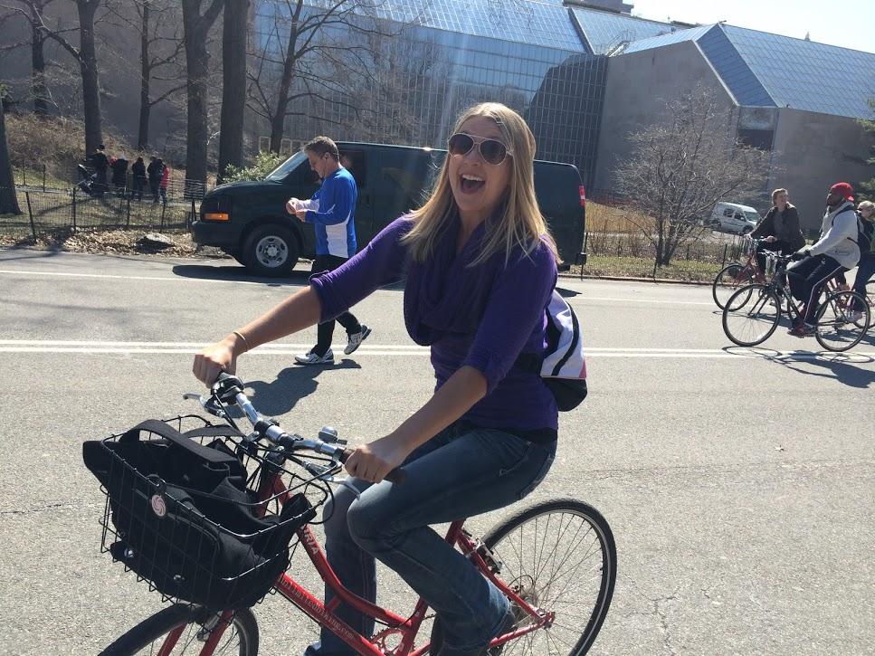 Stephanie on a bike