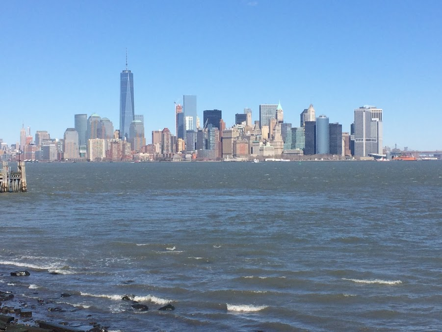 view of New York City from Liberty Island