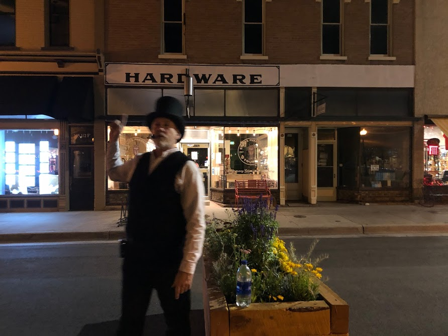Guide giving a ghost tour