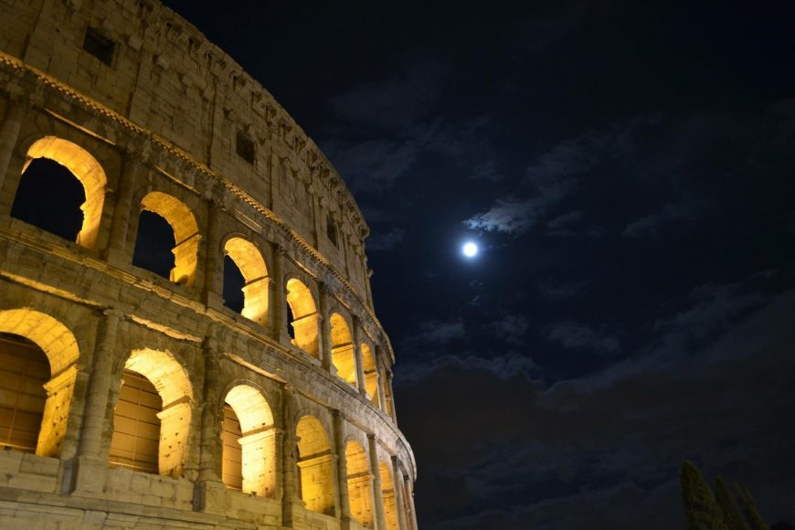 Rome Colosseum at night