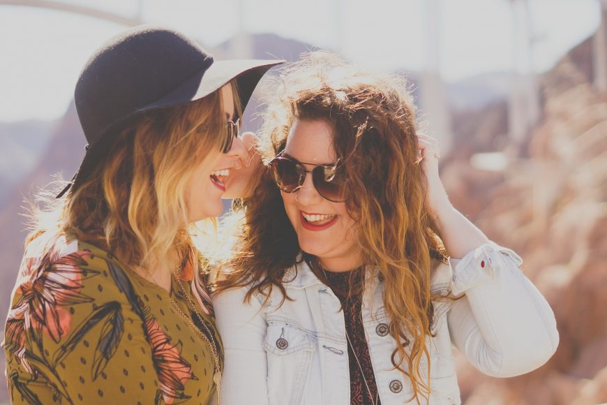 Two women laughing