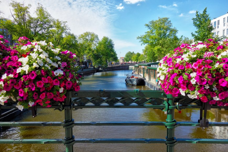 Amsterdam canal with flowers