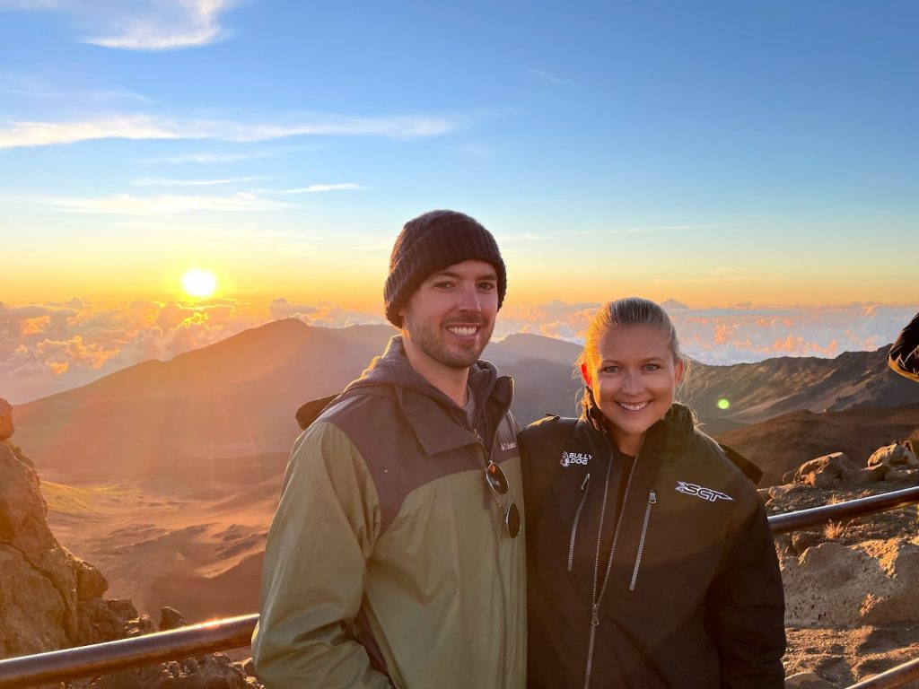 Rick and Stephanie at sunrise on Haleakala